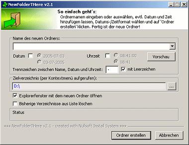 Screenshot von Windows Explorer ShellExtension: NewFolderTHere